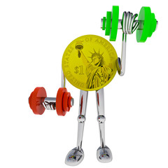 dollar coin robot heave his dimbbell illustration