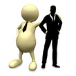 3D People with businessman silhouette posing