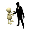 3D People handshake with businessman silhouette