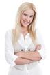 Junge lachende Frau isoliert im Business-Look