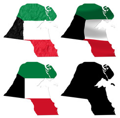 Kuwait flag over map collage