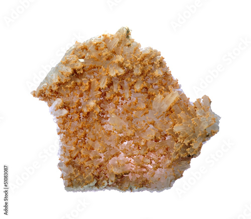 Rock crystal with limestone formations, druse, aggregate