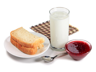 Bread, glass of milk and raspberry jam