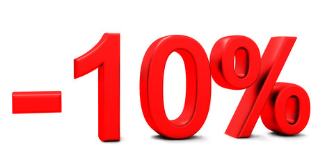 3D rendering of a 10 per cent in red letters on a white