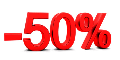 3D rendering of a 50 per cent in red letters on a white