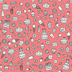 Seamless pink doodle pattern with sweets