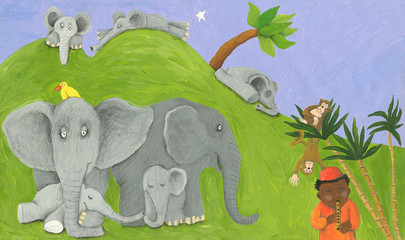 Elephants family, monkeys and one african boy