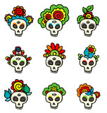 Set with skulls-catrinas