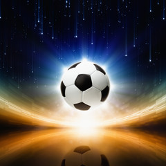 Soccer ball, bright light