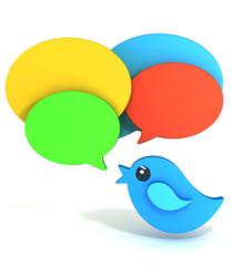 Tweeting bird 3d isolated on white