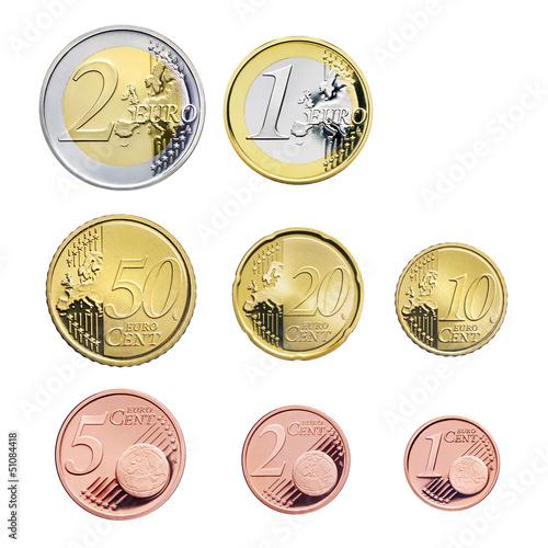 Leinwanddruck Bild Euromünzen