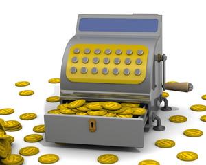 Касса полная монет с символом американского доллара