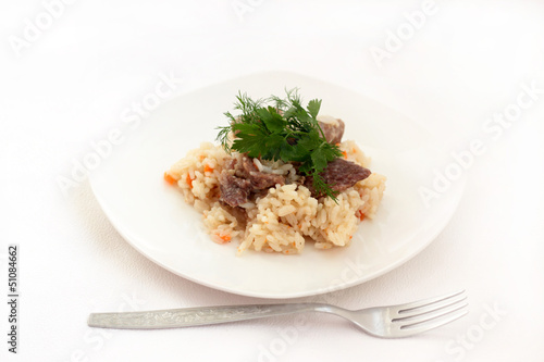 Rice and meat with vegetables.