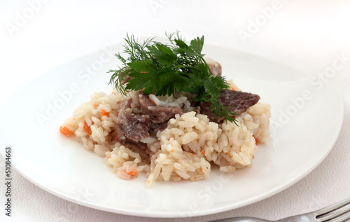 Rice with meat.