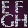 Alphabet of diamonds EFGH