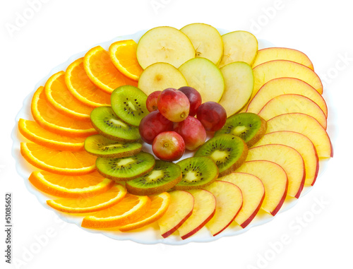 apple kiwi grapes plate sliced isolated on white background clip