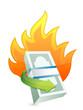 monetary concept on fire. crisis concept