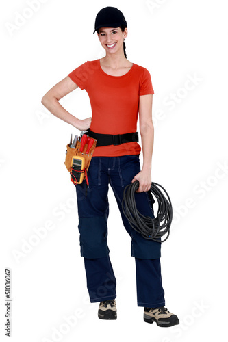 Female electrician raring to go