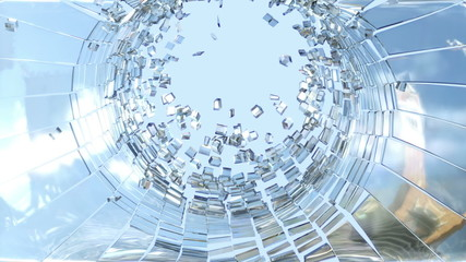 Shattered glass with slow motion and blue sky. Alpha is included