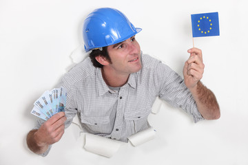 Man holding European flag and bank notes