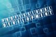 profession development in blue glass cubes