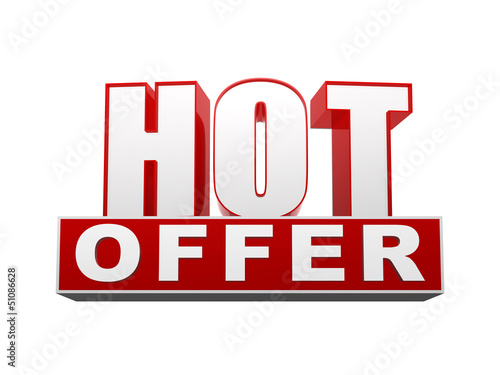 hot offer in 3d letters and block