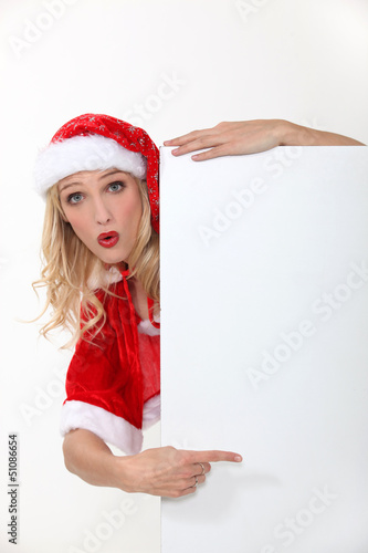 Blond female in Santa costume