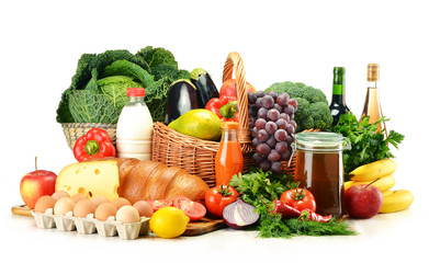 Grocery products including vegetables, fruits, dairy and drinks