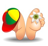 Feet Cartoon with Trucker Hat-Piedi a Riposo con Berretto