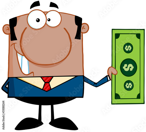 Smiling African American Business Man Holding A Dollar Bill