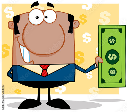 Smiling African American Business Manager Holding A Dollar Bill