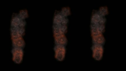 Three columns of smoke with a black  background