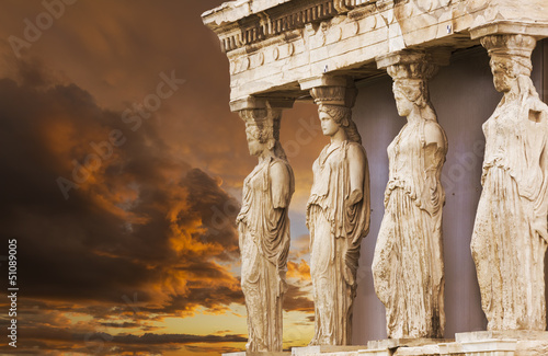 Caryatids in Erechtheum from Athenian Acropolis,Greece