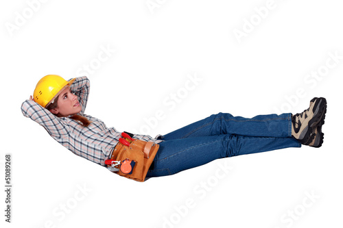 Carpenter having a lie down
