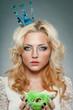 woman wearing princess crown