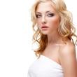 blonde woman pure closeup portrait