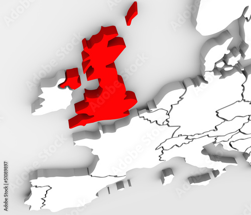 England 3D Abstract Map Europe Great Britain