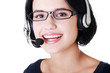 Attractive customer support representative smiling