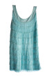 Turquoise sleeveless fringed flapper dress
