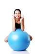 Beautiful  woman with pilates exercise ball.