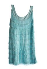Turquoise sleeveless fringed flapper dress