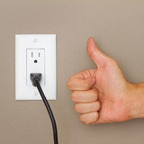 Thumbs up and Electric cable