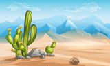 Fototapety Illustration of desert with cactus on a background of mountains