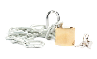 padlock and Key  with a chain isolated on the white background