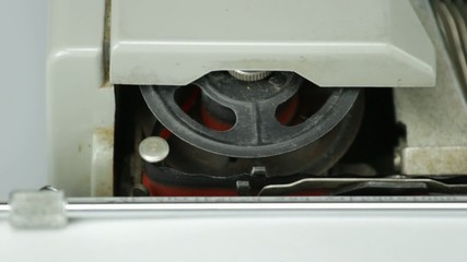 old typewriter, wheel tape detail