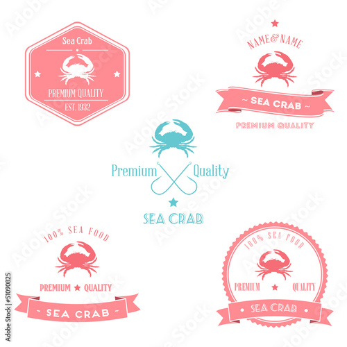 Vintage Sea Crab Badge set | Editable EPS vector illustration