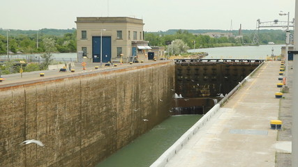 Massive lock gates in the Welland canal. Ontario.