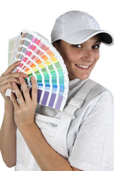 Painter with a palette of colours to choose from