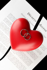 red heart with torn Divorce decree document,