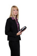 Blond businesswoman holding diary